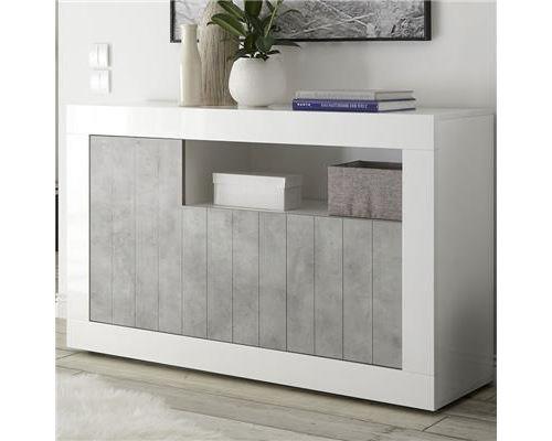 Petit bahut 140 cm blanc effet béton gris moderne URBAN 5 - L 138 x P 42 x H 86 cm