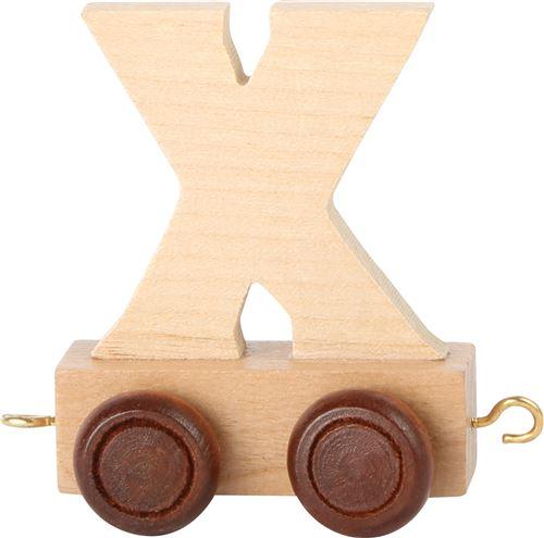 Small Foot chariot de train lettre X bois beige 5 x 3,5 x 6 cm