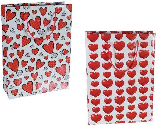 2 Grands sacs cadeau cœur en papier 25 x 8,5 x 34,5 cm