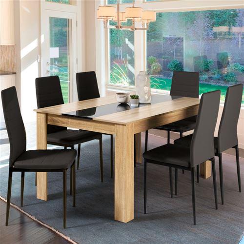 Table à manger de 6 personnes imitation hêtre et noire
