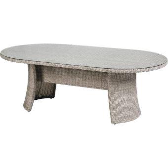 Table de jardin ovale en aluminium et résine tressée - Dim ...