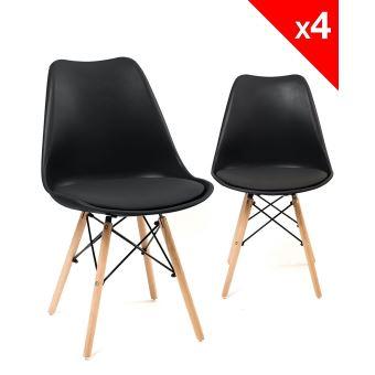 chaise scandinave nasi avec coussin lot de 4 noir achat prix fnac - Chaise Scandinave Noir