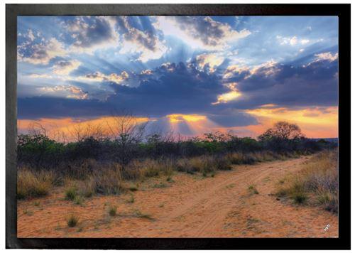 Couchers De Soleil Paillasson Essuie-Pieds - Rayons De Soleil À Travers Des Nuages, Parc National Waterberg, Namibia (70x50 cm)