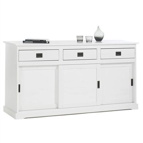 Buffet SAVONA bahut vaisselier commode avec 3 tiroirs et 3 portes coulissantes, en pin massif lasuré blanc