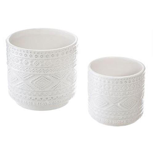 Lot de 2 Pots en Céramique Ethnique 13cm Blanc