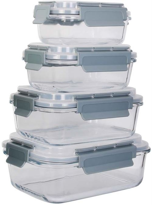Cook Concept - Boîtes de conservation rectangulaires en verre (Lot de 4)