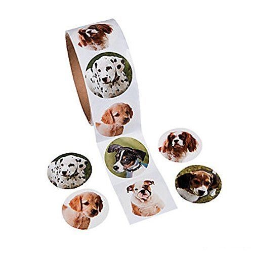 1 Roll ~ Dog Stickers ~ 100 Round Stickers Total ~ Approx. 1.5 ~ Assorted Designs ~ New Shrink-wrapped