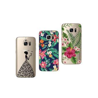 Pack de 3 Coques Souples et r/ésistantes avec Impression de qualit/é Pack 28 Novago Compatible avec Samsung Galaxy S7