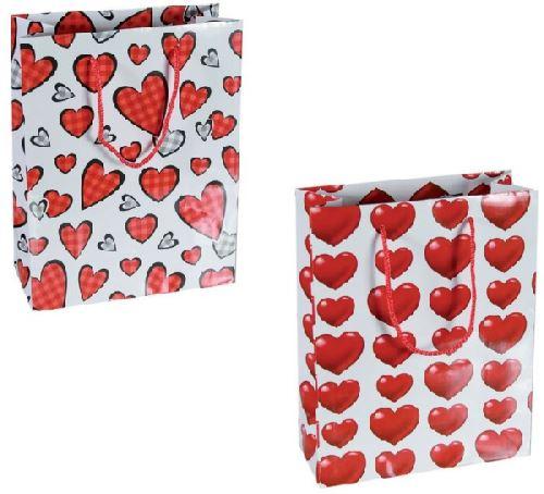 2 Sacs cadeau cœur en papier 18 x 8 x 23 cm