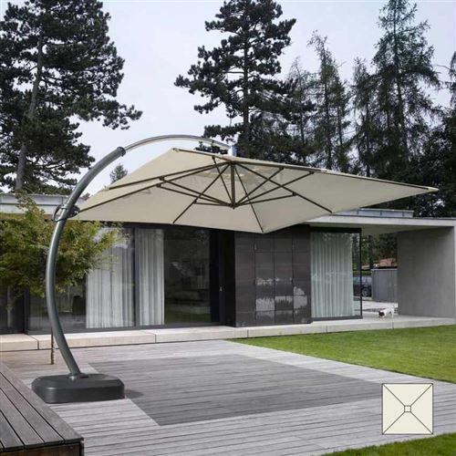 Elios Parasols - Parasol grande taille jardin de 3,5 mètres carré bras en aluminium Copenaghen
