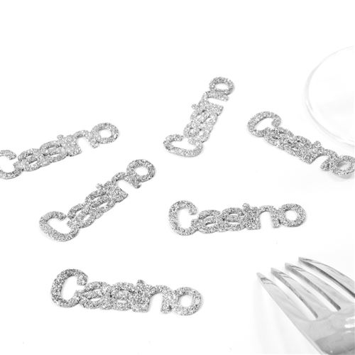 Lot de 60 Confettis de table thème Casino coloris Argent - 5 x 1,5 cm