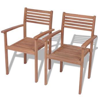 Vidaxl Chaise Empilable D Extérieur 2 Pcs Teck Mobilier De Jardin