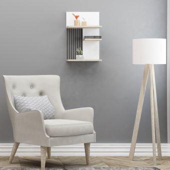 Étagère Madera Moderne Blanc, Chêne, Noir   Pour Chambre, Séjour, Bureau    Soutien, Mur   Achat U0026 Prix | Fnac