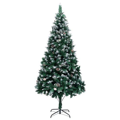 vidaXL Sapin de Noël avec pommes de pin et neige blanche 240 cm
