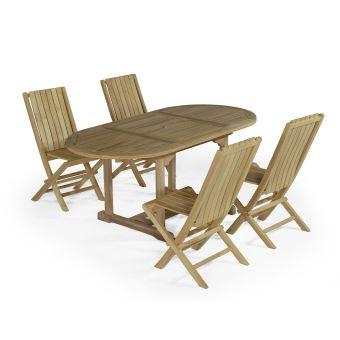 Salon de jardin en teck Ecograde© Alizé, table 1.20 à 1,8 m + 4 ...