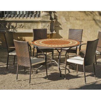 Hevea - Table ronde mosaïque et fauteuils Lorny Bergamo ...