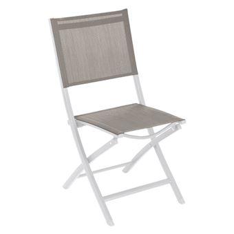 Chaise pliante extérieur Essentia noisette/blanc Hespéride ...