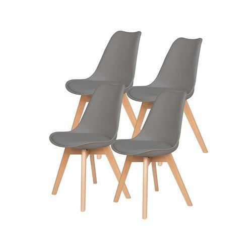 Lot de 4 chaises d'intérieur LAGOM gris en bois H83cm