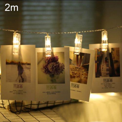Eclairage LED Guirlande/Décoration LED 2m lumière de lumière blanche chaude clip photo LED guirlande lumineuse, 20 LED 3 piles AA piles à chaînes boîte lampe décorative pour la maison des images suspendues, fête de bricolage, mariage, décoration de Noël