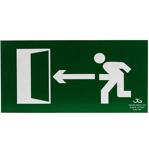 Signe de sortie de secours sur la gauche. Signal d'urgence luminescent de 32 x 16 cm