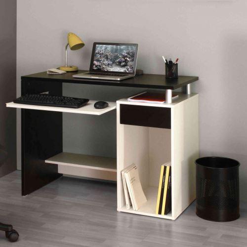 Bureau en bois blanc et noir avec tablette à clavier coulissante - BU6012