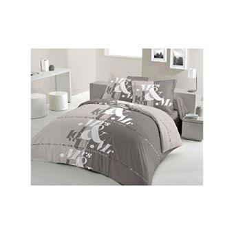 lovely home parure de couette mr mrs 100 coton 1 housse de couette 220x240 cm 2 taies d. Black Bedroom Furniture Sets. Home Design Ideas