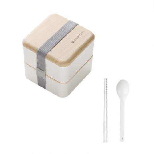 Micro-Ondes Boîte à Lunch Japonaise en Bois Bento Box 2 Couche de Stockage de Conteneurs Nouveau CFYP802