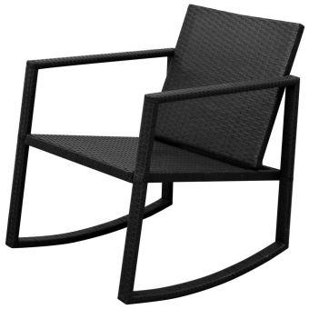 3pcs Salon de Jardin 2 Chaise à Bascule et 1 Table en Résine Tressée Noir