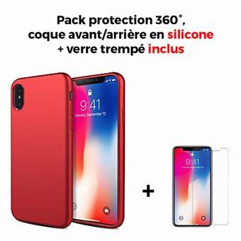 Coque Iphone Xs Max 6 5 Integrale Rouge Film En Verre Trempe