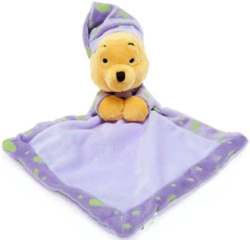 Disney doudou plat brille dans la nuit winnie - doudou violet - peluche enfant