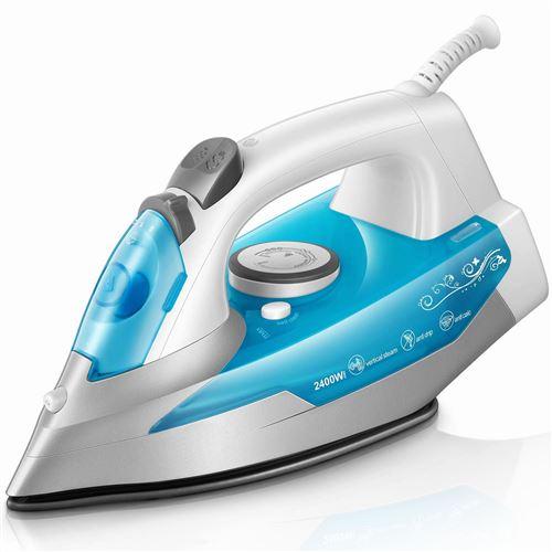 Koticidsin Fer à repasser Fer à Vapeur 2400W 300 ml Bleu (anti tartre, système anti goutte, fonction d'auto nettoyage)