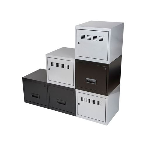 Pierre Henry - Cubes métal 3 portes 3 tiroirs Alu/Noir