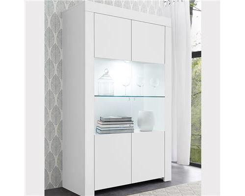 Vaisselier 110 cm design blanc laqué AGATHE