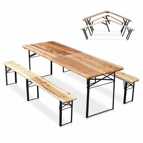 Table de brasserie pliante bancs bois ensemble 220x80cm