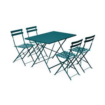 Salon de jardin bistrot Emilia rectangulaire bleu canard Alice\'s Garden