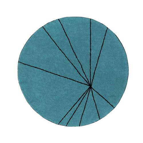 Tapis géométrique rond bleu pétrole trace lorena canals