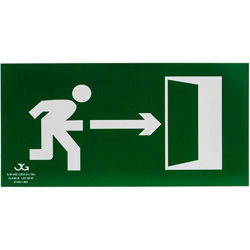 Signe de sortie de secours à droite. Signal d'urgence luminescent de 32 x 16 cm
