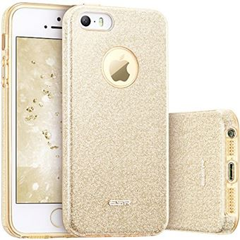 ESR Coque pour iPhone SE 5s 5 Coque Silicone Paillette Stra Brillante Glitter de Luxe Bumper Houe Etui de Protection Anti Choc pour iPhone 5 5s SE Or Champagne Dore Paillete