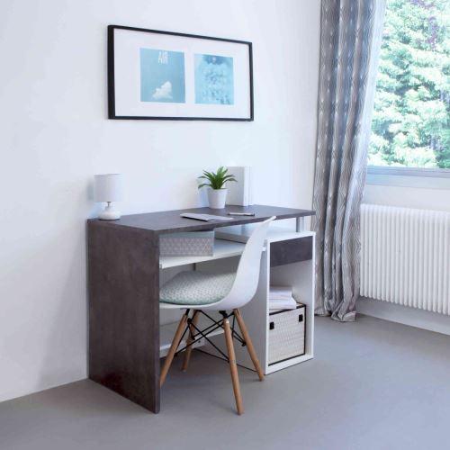 Bureau en bois blanc et noyer avec tablette à clavier coulissante - BU6012