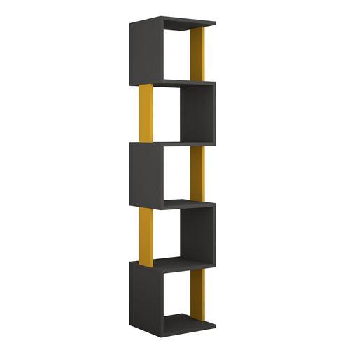 Bibliothèque Piri 161 cm - Gris Anthracite et Jaune