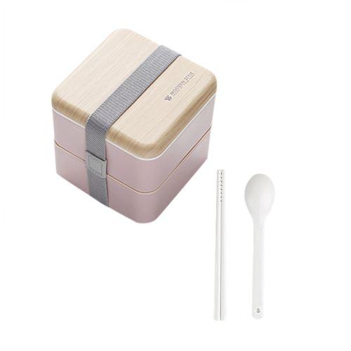 Micro-Ondes Boîte à Lunch Japonaise en Bois Bento Box 2 Couche de Stockage de Conteneurs Nouveau CFYP803