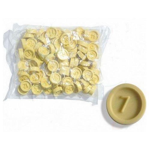 Sachet de 90 jetons numérotésIdeal pour loto bingoJetons double face avec chiffres en reliefMatière pvc Couleur ivoire Diametre 1.7 cmMarque lotoquinene convient pas aux enfants de moins de 36 mois