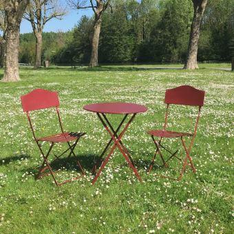 Table 2 Chaises de Jardin en Fer Pliable Salon de Jardin Bistrot ...