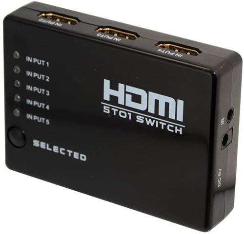 Alpexe® 5 PORT Commutateur HDMI Répartiteur Hub & IR Télécommande 1080p Pour HDTV PS3