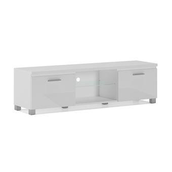 Home innovation - meuble de télévision led, meuble de salon, blanc mate et  blanc laqué, dimensions: 150x 40 x 42 cm de profondeur.
