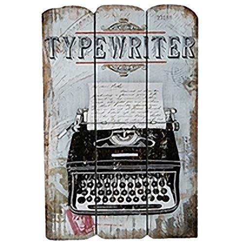 Plaque en bois Machine à écrire rétro