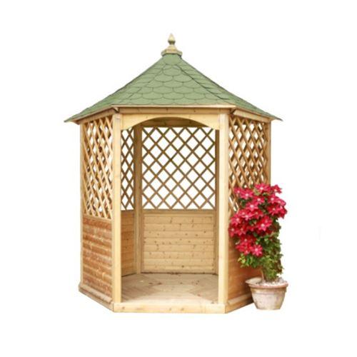 Pavillon hexagonal en bois massif avec plancher bardeau KIH28.01