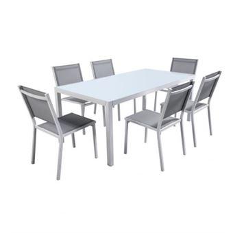 Ensemble table de jardin 180 cm en aluminium et 6 chaises ...