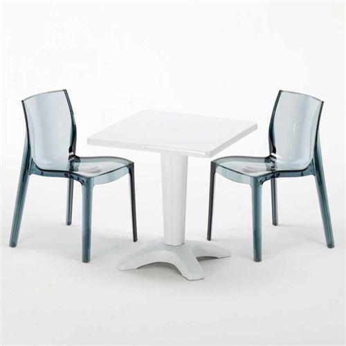 Grand Soleil - Table et 2 chaises colorées polycarbonate extérieurs Grand Soleil Caffè, Chaises Modèle: Femme Fatale Noir Anthracite Transparent, Couleur de la table: Blanc
