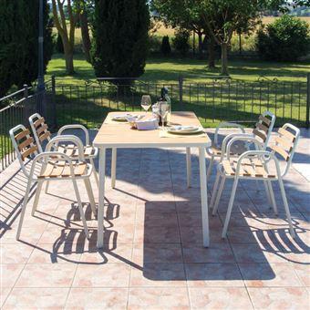 Table de jardin rectangulaire en aluminium et hêtre huilé longueur ...